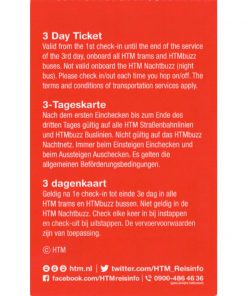 HTM The Hague Travel Ticket 3-dagen Achterkant Vierkant