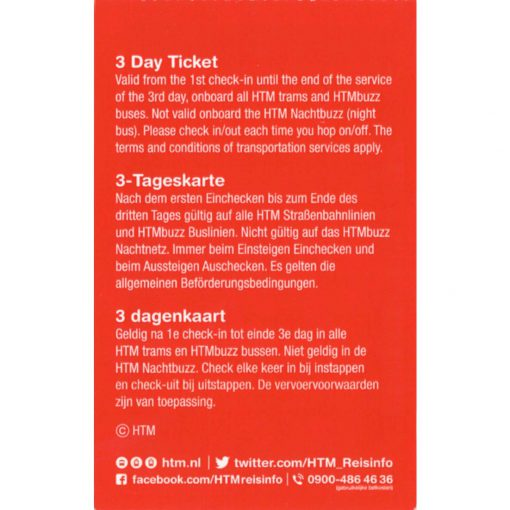 HTM The Hague Travel Ticket 3-dagen Achterkant Vierkant